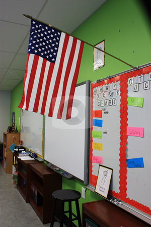 Elementary school classroom stock photo, Bulliten board, smart board and US Flag in a typical elementary classroom by photolady