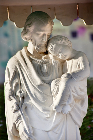 St. Joseph Baby Jesus Statue Wangfujing Cathedral Beijing China stock photo, St Joseph Baby Jesus Statue St. Joseph Wangfujing Cathedral,Beijing China.  Very famous Catholic Church built in 1655 and in Boxer Rebellion  by William Perry