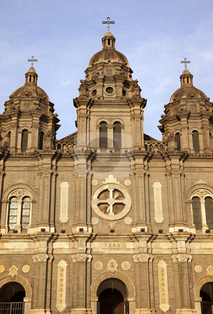St. Joseph Church Wangfujing Cathedral Facade  Basilica Beijing  stock photo, St. Joseph Wangfujing Cathedral, Basilica, Facader Church Beijing China.  Very famous Catholic Church built in 1655 and in Boxer Rebellion  by William Perry