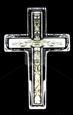 Christian Cross Art stock photo, Two Layered Isolated Christian Cross Art Illustration  by Snap2Art