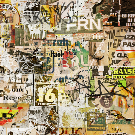 Grunge Poster Background stock photo, Grunge Background with Old Torn Posters by Binkski Art