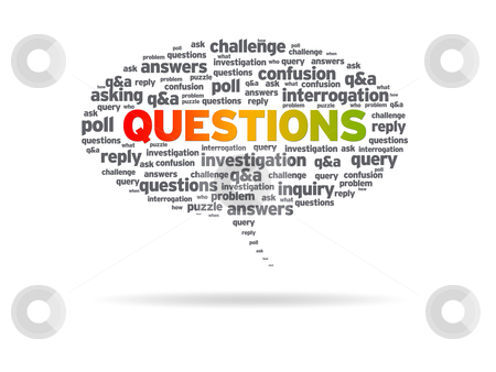 Speech Bubble - Questions stock photo, Speech bubble with the word questions on white background. by kbuntu