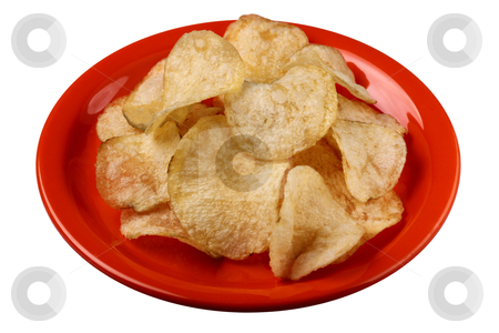 Potato crisps on a plate with clipping path stock photo, Deep fried salted potato crisps on a plate isolated with clipping path  by smarnad