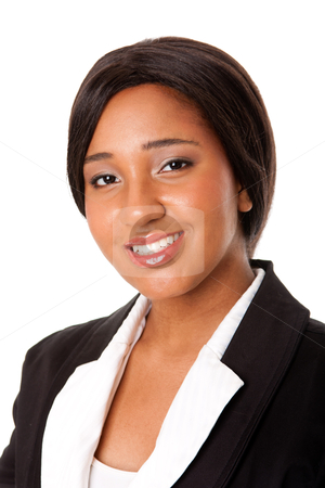 Corporate business portrait stock photo, Portrait of a beautiful happy smiling corporate business woman, isolated. by Paul Hakimata