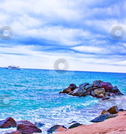 Beach, sea and ship stock photo, beach, sea and ship in summer time by danielitos