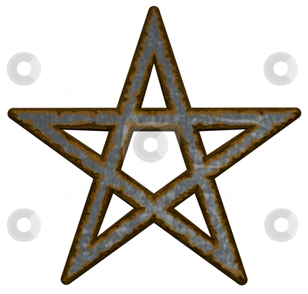 Pentagram stock photo, rusty pentacle on white background - 3d illustration by J?