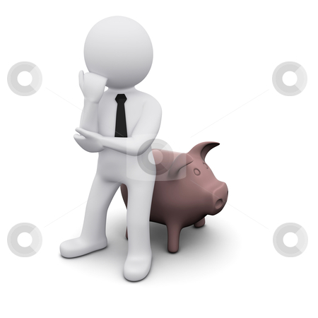 3D man with piggy bank stock photo, 3D man wearing a tie with piggy bank by Sergey Nivens