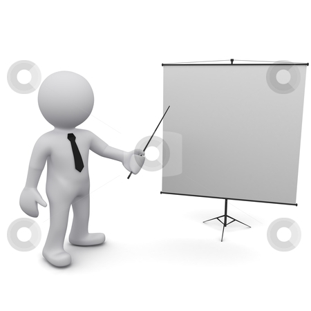 "Three-dimensional man stock photo, Three-dimensional man holding a pointer and points to the board.Series ""3D Man"" by Sergey Nivens"