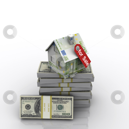 Small three-dimensional house of banknotes stock photo, small three-dimensional house of banknotes with a red tag. by Sergey Nivens