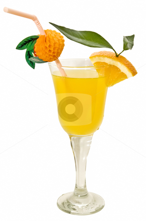 Refreshing cocktail stock photo, tropical cocktail on the white background  by luiscar