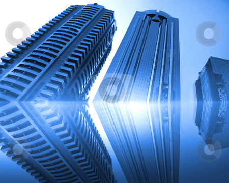 Blue skyscrapers stock photo, picture of urban landscape with blue glass skyscrapers by Sergey Nivens