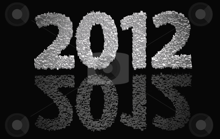 2012 New Year stock photo, 2012 new year modeled with tridimensional blocks over the world image by marphotography