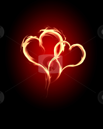 Burning hearts stock photo, burning heart with flames against dark background by Sergey Nivens