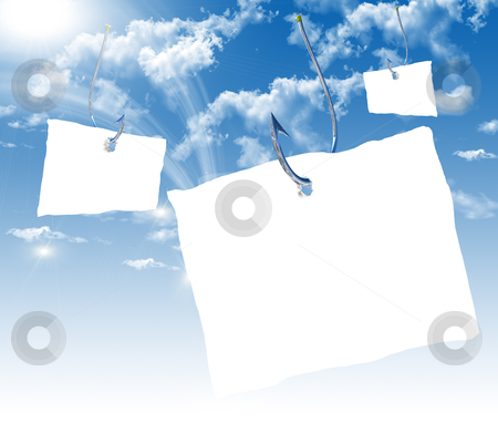 Fishhook with a white sheet of paper stock photo, Fishhook with a white sheet of paper for the label floating in the blue sky. Symbol of dangerous promises. by Sergey Nivens