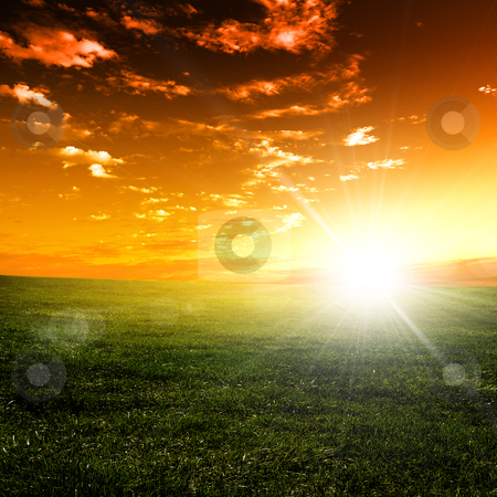 Nature landscape and the sunset stock photo, nature landscape and sunset on the background by Sergey Nivens