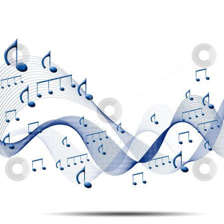 Musical background stock photo, composition made of note sing against white background as symbol of music by Sergey Nivens