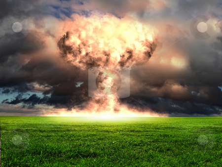 Nuclear explosion in an outdoor setting stock photo, Nuclear explosion in an outdoor setting. Symbol of environmental protection and the dangers of nuclear energy. by Sergey Nivens