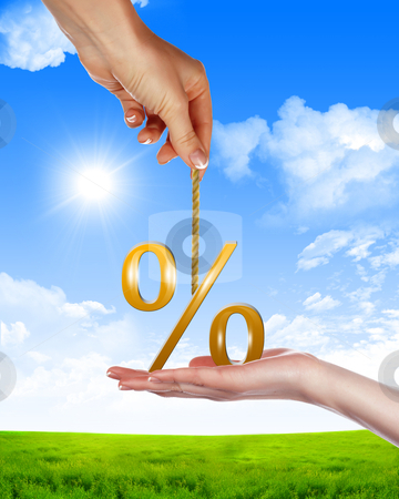 Symbol of a successful business. stock photo, Symbol of a successful business. Image of hands and per cent against the blue sky. Illustration. by Sergey Nivens