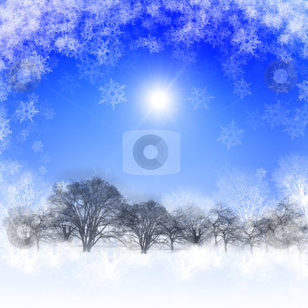 New year and Christmas background stock photo, background with blue skies and sunshine. Christmas in the winter landscape. Happy New Year and Merry Christmas! by Sergey Nivens