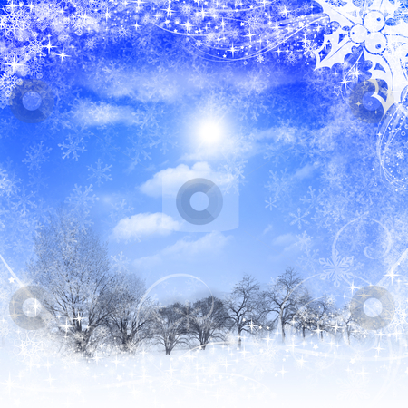 New year and Christmas background stock photo, Abstract background with blue skies and sunshine. Christmas in the winter landscape. Happy New Year and Merry Christmas! by Sergey Nivens