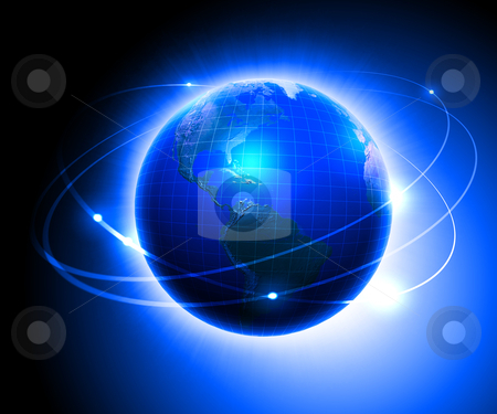 Earth on a background of space stock photo, Illustration. Earth on a background of space with blue lines and lights by Sergey Nivens