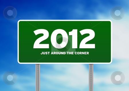 Green Road Sign 2012 stock photo, Green 2012 highway sign on Cloud Background. by kbuntu