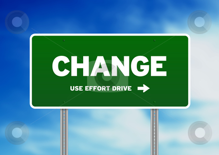 Change Highway  Sign stock photo, High resolution graphic of a change highway sign on Cloud Background.  by kbuntu