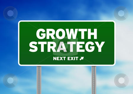 Growth Strategy Road Sign stock photo, Green Growth Strategy highway sign on Cloud Background.  by kbuntu