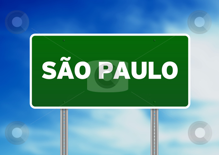 Sao Paulo Highway Sign stock photo, Green Sao Paulo, Brazil highway sign on Cloud Background.  by kbuntu