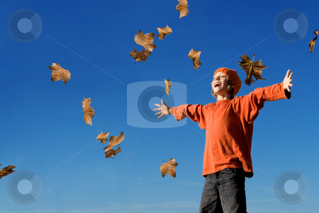 Happy kid shouting or singing in autumn fall stock photo, happy kid shouting or singing in autumn fall by mandygodbehear