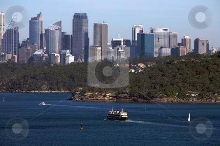 Sydney north head view with city skyline stock photo, Sydney north head view with city skyline in the background in Australia by Vividrange