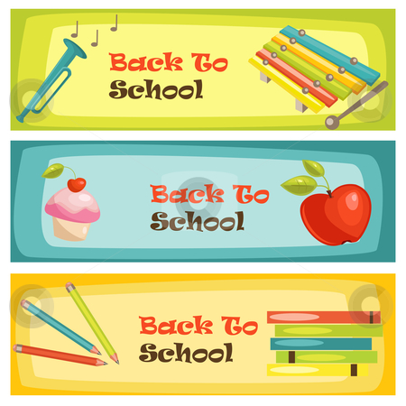 Back to school banners stock photo, Back to school banners, vector illustration by kariiika