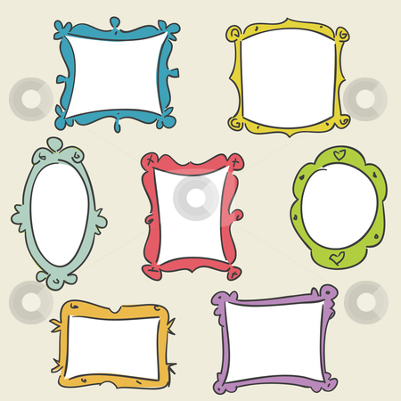 Hand drawn frames stock photo, Hand drawn frames, vector illustration by kariiika