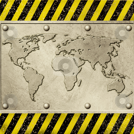 Grunge Metal Background stock photo, A Grunge Metal Background with World Map by Binkski Art