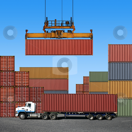 Freight Containers stock photo, Stack of freight containers at the docks with Truck by Binkski Art