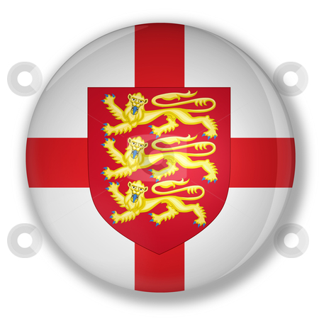 Badge with flag and the royal coat of england stock photo, Illustration of a badge with flag and the royal coat of england with shadow by marphotography