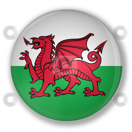 Badge with flag of wales stock photo, Illustration of a badge with flag of wales with shadow by marphotography