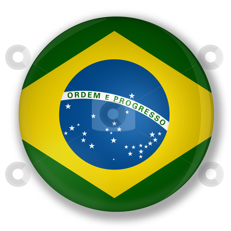 Badge with flag of brazil stock photo, Illustration of a badge with flag of brazil with shadow by marphotography