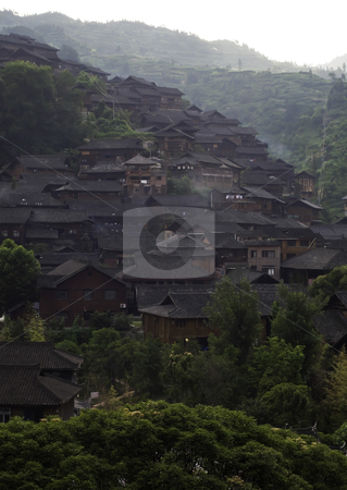 Morning in Chinese Village stock photo, Early morning in an ethnic Miao Chinese Village by elemery