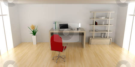 Desktop stock photo, A office workplace. 3D rendered Illustration.  by Michael Osterrieder