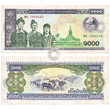 Laotian banknote stock photo, Laotian 1000 kip banknote, both sides over white background by Richard Laschon