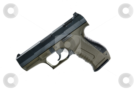 9mm handgun stock photo, Image of a9mm handgun on a white background by Greg Blomberg