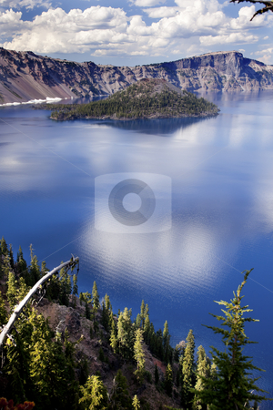 Crater Lake Reflection Clouds Blue Sky Oregon stock photo, Crater Lake Reflection, Wizard Island, Clouds Blue Sky Oregon Pacific Northwest by William Perry