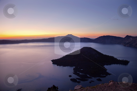 Crater Lake Wizard Island Sunrise Oregon stock photo, Crater Lake Wizard Island Sunrise Oregon Pacific Northwest by William Perry