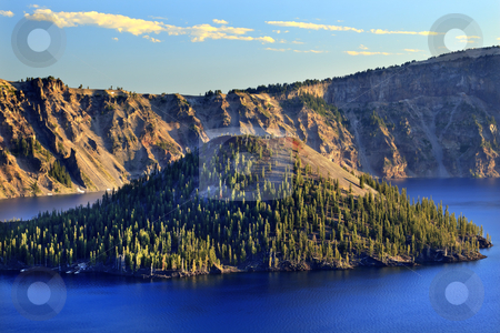 Wizard Island Crater Lake National Park Blue Lake Oregon stock photo, Wizard Island Crater Lake National Park Blue Lake Oregon Pacific Northwest by William Perry