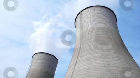 Heat power plant stock photo, View of the huge water towers in a heat power plant by John Young