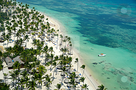 Flying over caribbean beach stock photo, Flying over caribbean tropical beach by Lars Christensen