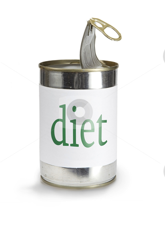 Can with a diet label stock photo, a food can with a diet label isolated on white by sielemann