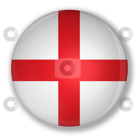 Badge with flag of england stock photo, Illustration of a badge with flag of england with shadow by marphotography