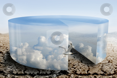 Climate control during drought  stock photo, cloudy pie chart illustrateds climate control during drought  by TLFurrer